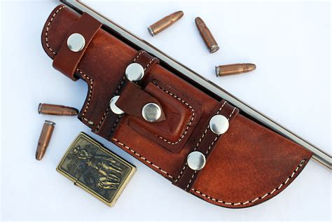 Handmade Leather Knife Sheaths - custom handmade horizontal left tracker knife leather
