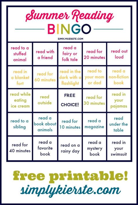 printable games for reading summer reading bingo simply kierste design co