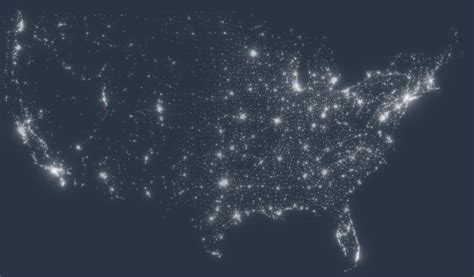 usa light map usa map lights