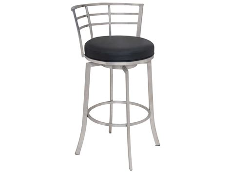 brushed stainless bar stools armen living viper black with brushed stainless steel bar