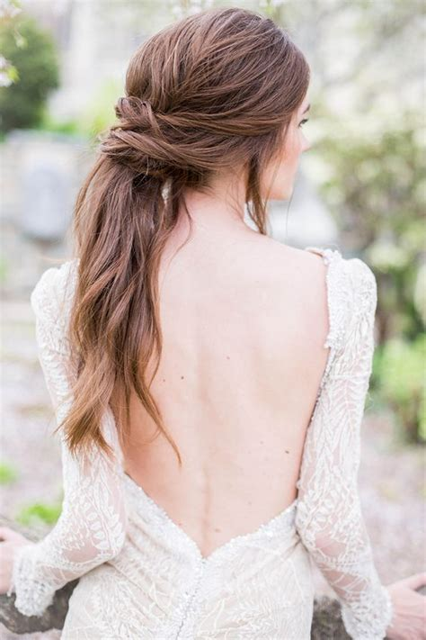 Wedding Hairstyles For Low Back Dresses by Gorgeous Twisted Ponytail Updo A Low Back Beaded Gown