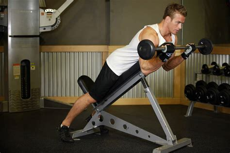 bench bicep curls barbell curls lying against an incline exercise guide and