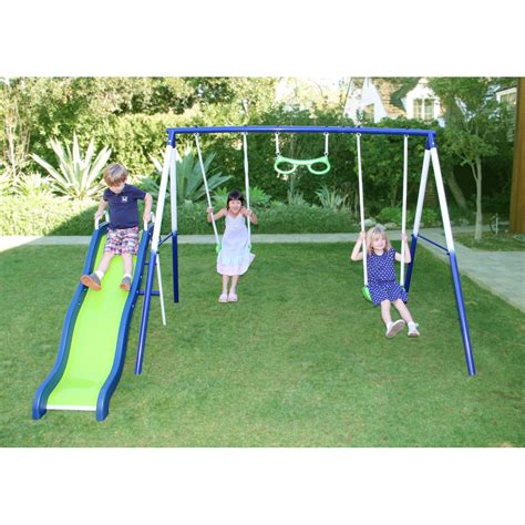 Metal Swing Sets - sportspower vista metal swing and slide set top
