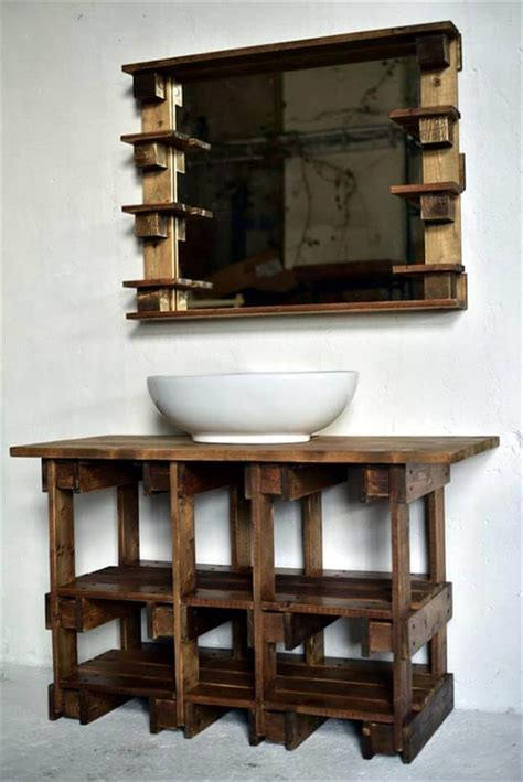wood bathroom furniture pallets wood bathroom mirror and vanity
