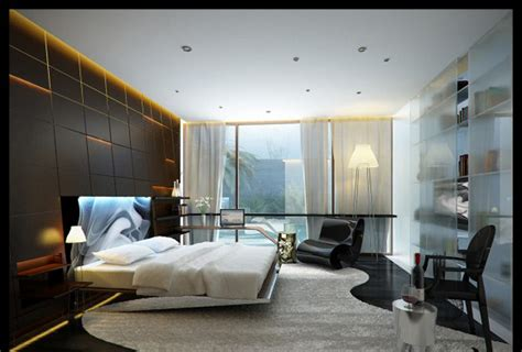glass bedroom big glass window closed white curtain in contemporary