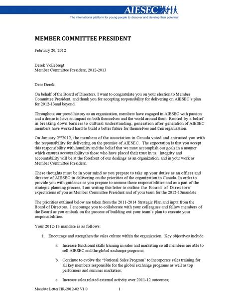 Acceptance Letter To Be A Board Member Board Of Directors Mandate Letter By Aiesec Canada Issuu