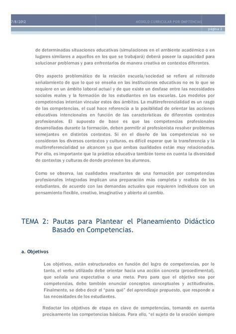 Caracteristicas Modelo Curricular Por Competencias Modelo Curricular Por Competencias