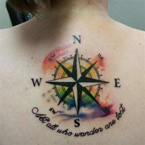 compass tattoo not all who wander are lost a little nautical watercolor back tattoo quot not all who