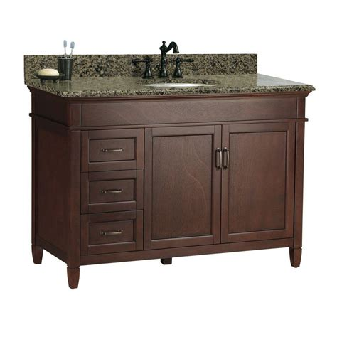 foremost ashburn 49 in w x 22 in d vanity in mahogany