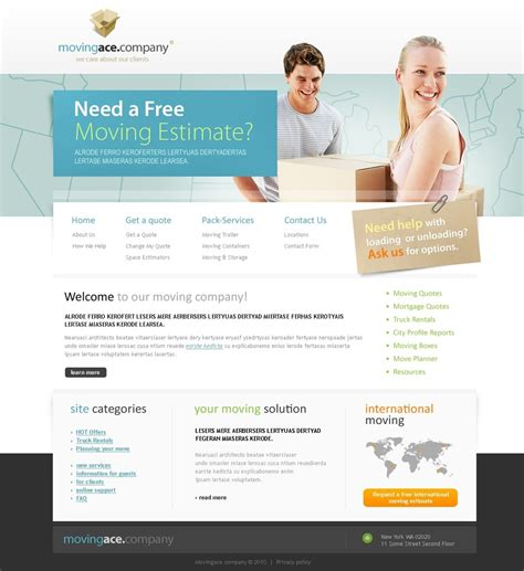 templates for website free download in jsp moving company website template 28217