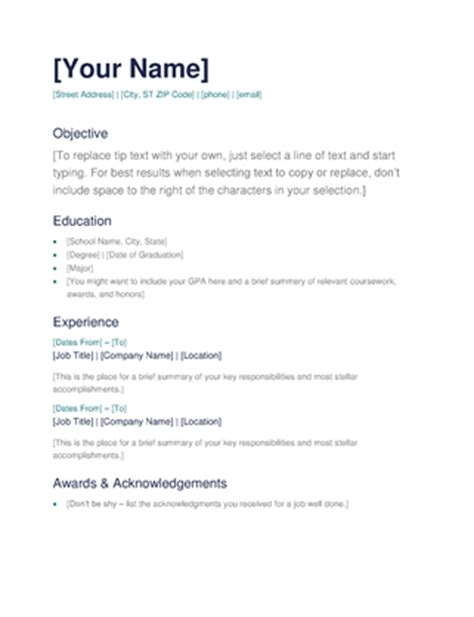 Easy To Use Resume Templates by Simple Resume Office Templates