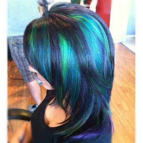 peacock hair color peacock highlights hair color