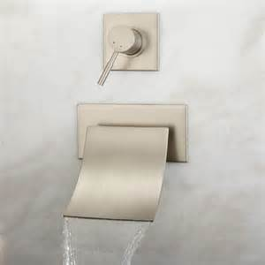 wall mounted bathtub faucet reston wall mount waterfall tub faucet brushed nickel ebay