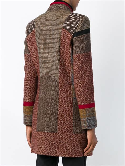 Patchwork Coats - etro patchwork tweed coat in brown lyst