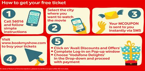 bookmyshow free ticket vodafone delights offer buy 1 get 1 free movie ticket