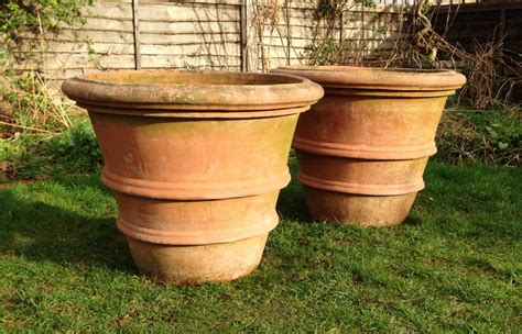 pair of large terracotta planters in from the vintage