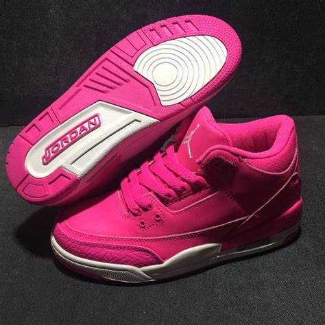girls air jordan 3s retro hot pink all pink white for