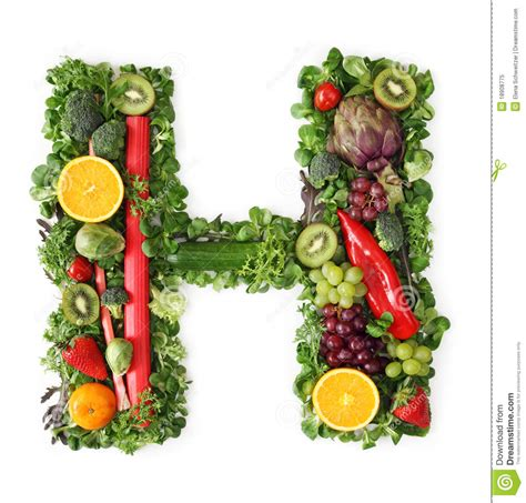 h vegetables fruit and vegetable alphabet royalty free stock photo