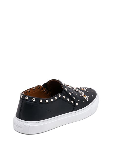 givenchy sneakers lyst givenchy studded leather slip on sneakers in black