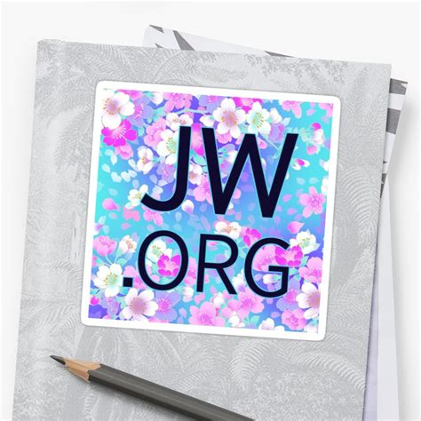 imagenes del logo jw org quot jw org bright blue and pink flowers quot stickers by jw