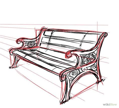 bench drawing how to draw a park bench