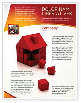 3d Cubes Building Flyer Template Background In Microsoft Word Publisher And Illustrator 3d Flyer Templates