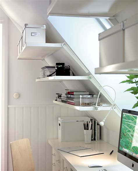 sloping walls bookshelf and file cabinet storage shelves on sloping wall painted with white wall interior
