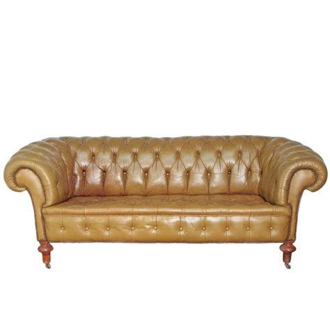 Green Leather Chesterfield Sofa Chesterfield Sofa In Olive Green Leather For Sale At 1stdibs