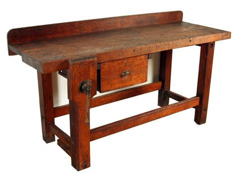 vintage industrial heavy wood workbench  stdibs