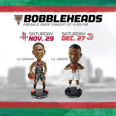 Bobblehead Giveaways - bucks release picture of first two bobblehead giveaways