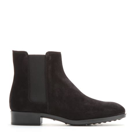 chelsea boots black suede lyst tod s suede chelsea boots in black