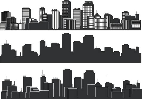 City Outline Vector by Cool Vector Silhouette Of The City Free Vector 4vector