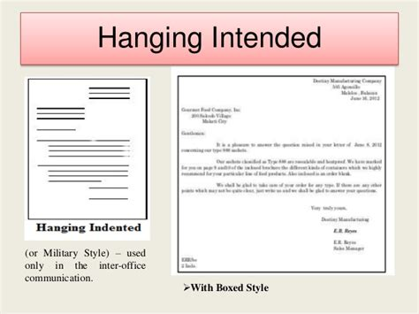 business letter hanging format business letter