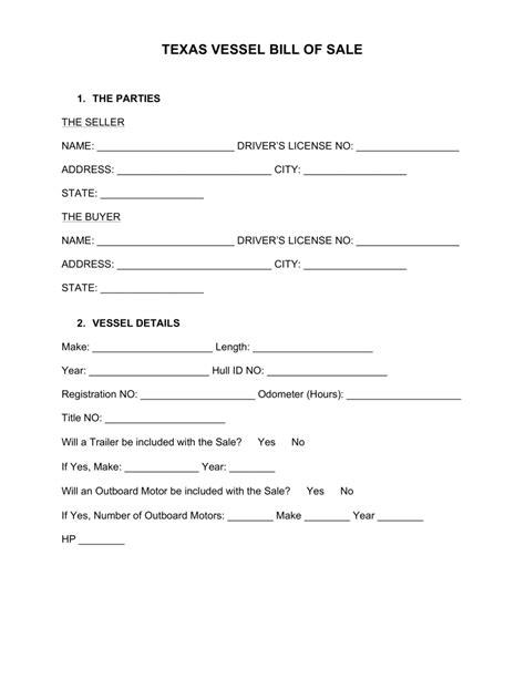 texas bill of sale form free texas boat bill of sale form word pdf eforms