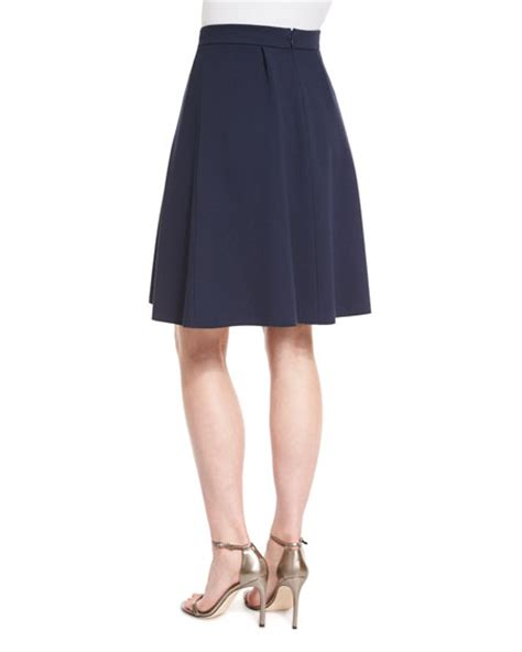 armani collezioni box pleated jersey a line skirt astral blue