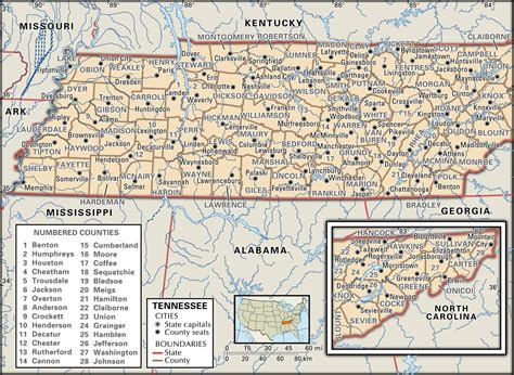 county map of tennessee state and county maps of tennessee