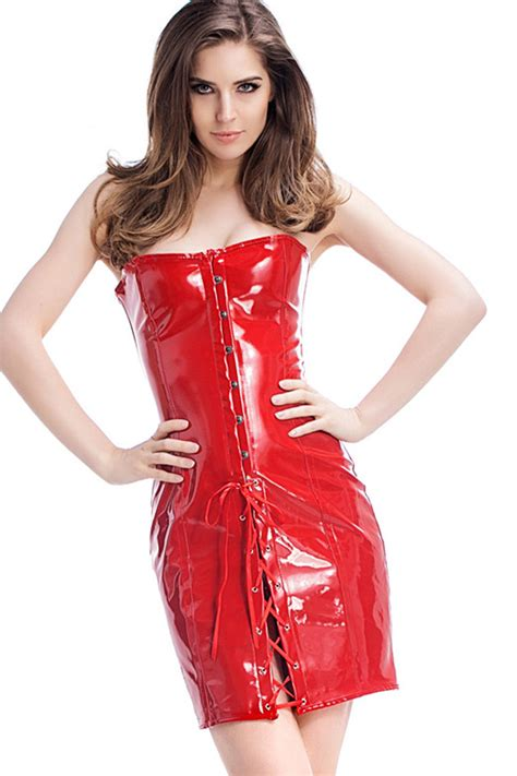 red pu leather strapless lace  sexy club dress costume