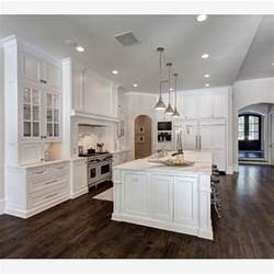 the dark hardwood floors and white cabinets create a