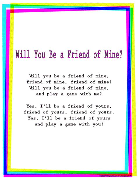 song for a friend rhymes songs quot will you be a friend of mine quot read