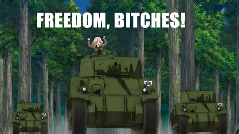 Girls Und Panzer Meme - freedom green armed armored and driver by schoolgirls