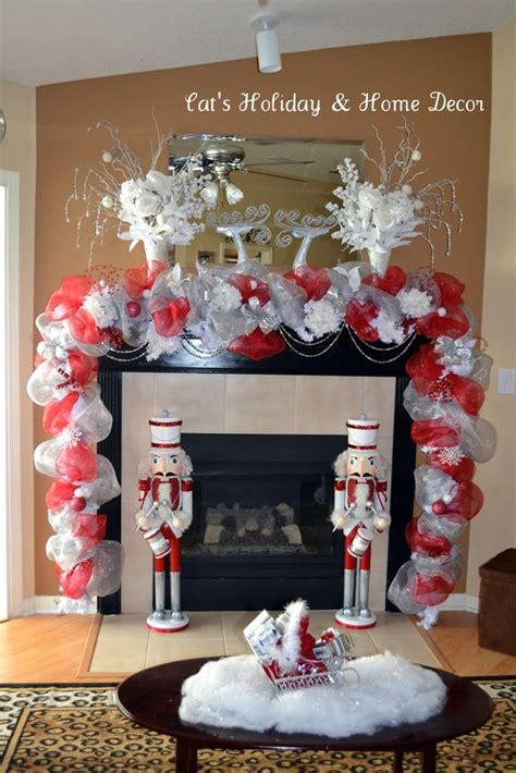 image of christmas mantle with nutcracker mantles deco mesh and vases on