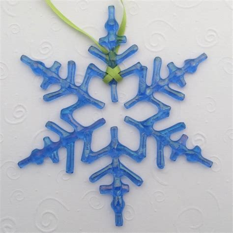 fused glass snowflake ornament suncatcher arctic blue
