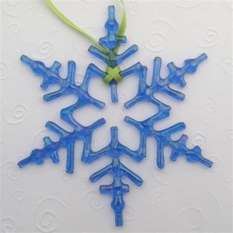 fused glass snowflake ornament suncatcher arctic blue