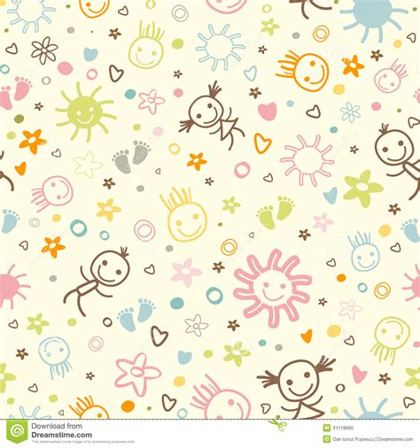 doodle baby baby seamless pattern stock photo image 31118960