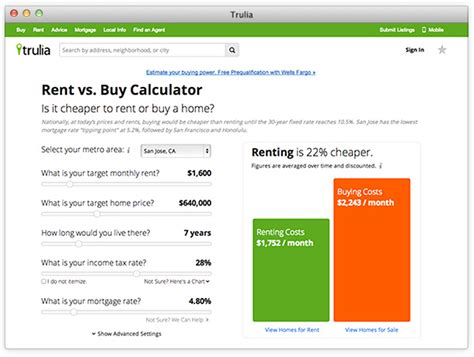 renting vs buying a house calculator trulia launches rent vs buy calculator