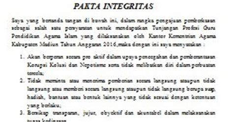 contoh pakta integritas tunjangan profesi guru pai