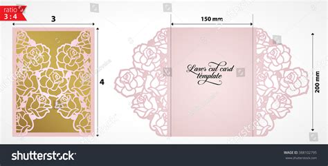 floral paper cut out card template laser cut wedding invitation card template stock vector
