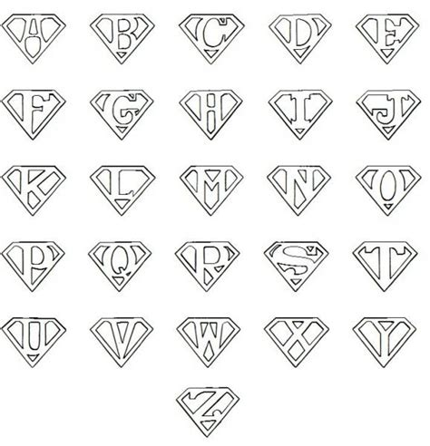 superman alphabet template printable superman logo letter cricut
