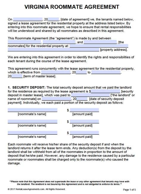 Free Virginia Roommate Agreement Template Pdf Word Virginia Lease Template