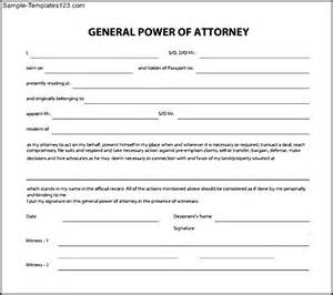 Poa Template by Sle General Power Of Attorney Form Sle Templates
